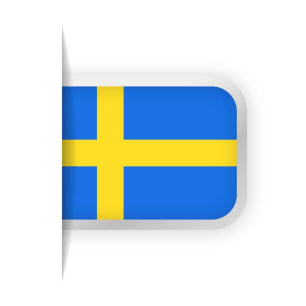 ilustraciones, imágenes clip art, dibujos animados e iconos de stock de suecia bandera vector icono de marcador - bandera sueca