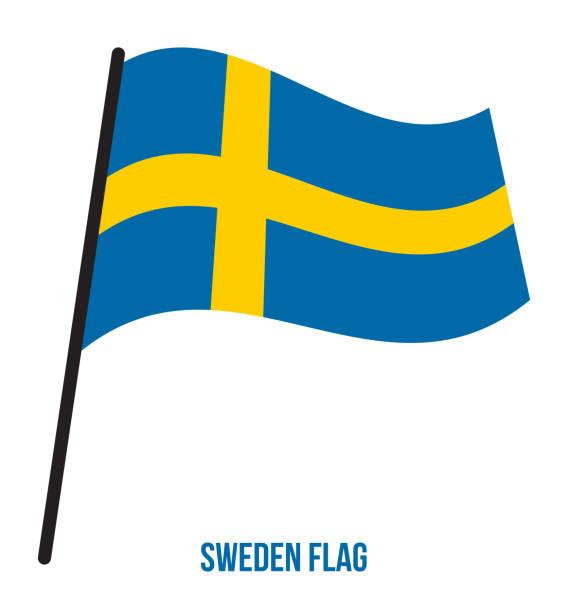 ilustraciones, imágenes clip art, dibujos animados e iconos de stock de suecia bandera ondeando vector ilustración sobre fondo blanco. bandera nacional de suecia. - bandera sueca