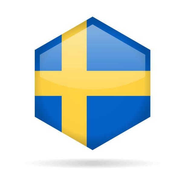ilustraciones, imágenes clip art, dibujos animados e iconos de stock de suecia - hexágono bandera vector icono brillante - bandera sueca