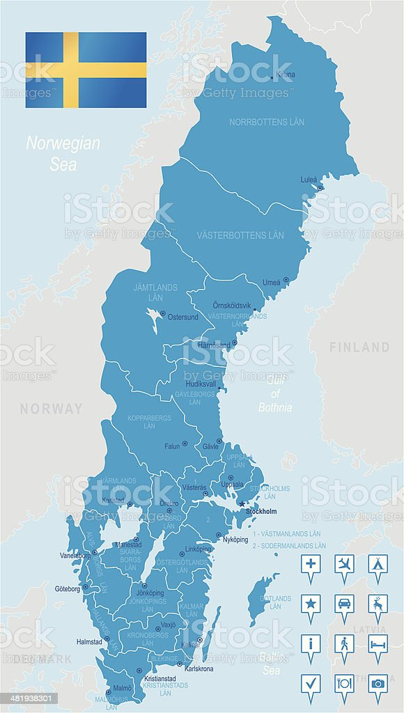 Sweden - highly detailed map royalty-free stock vector art