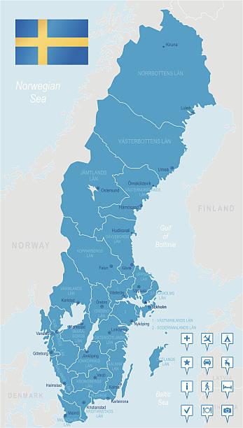 bildbanksillustrationer, clip art samt tecknat material och ikoner med sweden - highly detailed map - malmö