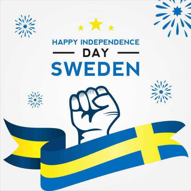 bildbanksillustrationer, clip art samt tecknat material och ikoner med sveriges självständighets dag vektor design mall - summer sweden