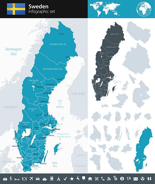 bildbanksillustrationer, clip art samt tecknat material och ikoner med sweden - infographic map - illustration - sweden map