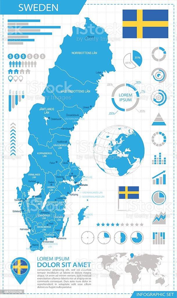 Sweden - infographic map - Illustration vector art illustration