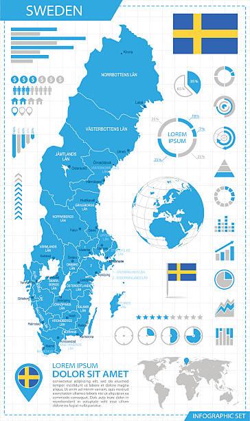 bildbanksillustrationer, clip art samt tecknat material och ikoner med sweden - infographic map - illustration - malmö