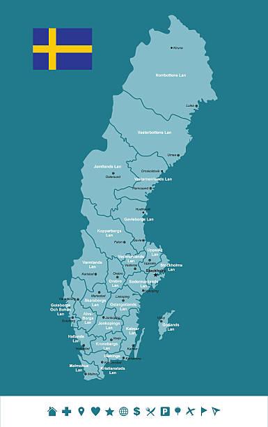 bildbanksillustrationer, clip art samt tecknat material och ikoner med sweden infographic map - malmö