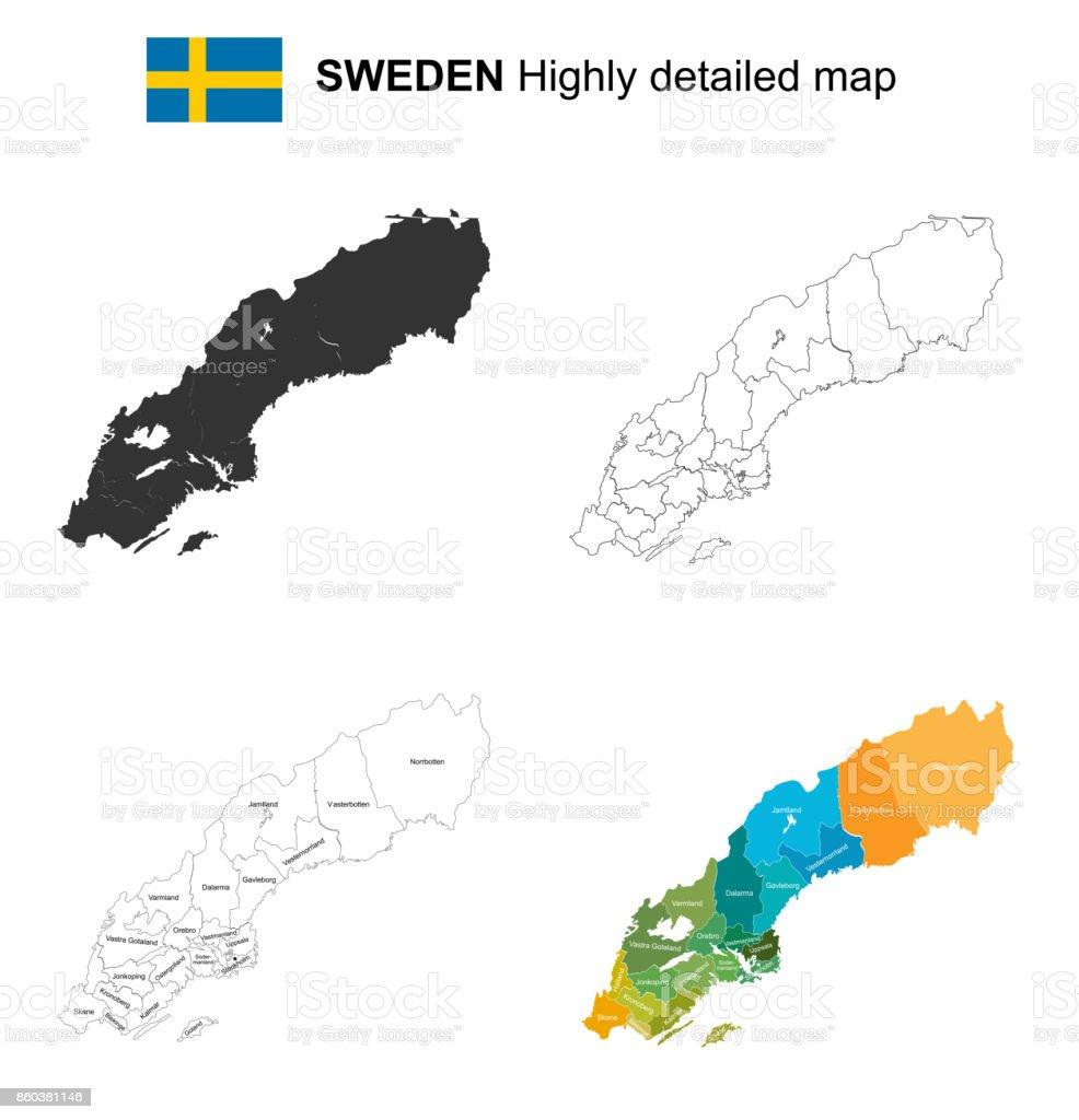 Schweden Karte Regionen.Schweden Isolierte Sehr Detaillierte Politische Vektorkarte
