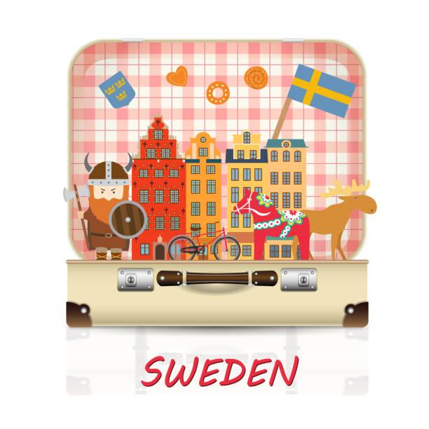 bildbanksillustrationer, clip art samt tecknat material och ikoner med sverige landmark globala resor och resa infographic bagage med symboler - älg sverige
