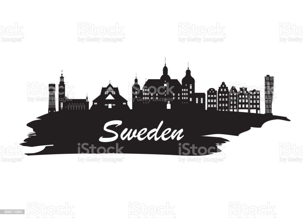Sweden Landmark Global Travel And Journey Paper Background Vector Design Templateused For Your