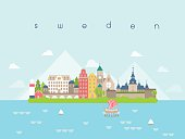 Sweden Landmarks Travel and Journey Vector