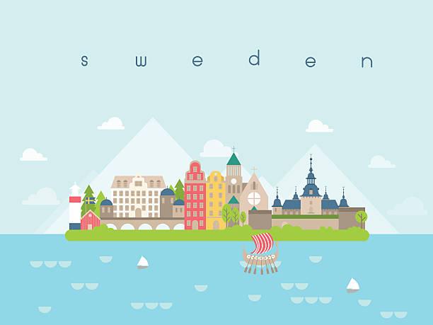 bildbanksillustrationer, clip art samt tecknat material och ikoner med sweden landmarks travel and journey vector - skyline stockholm