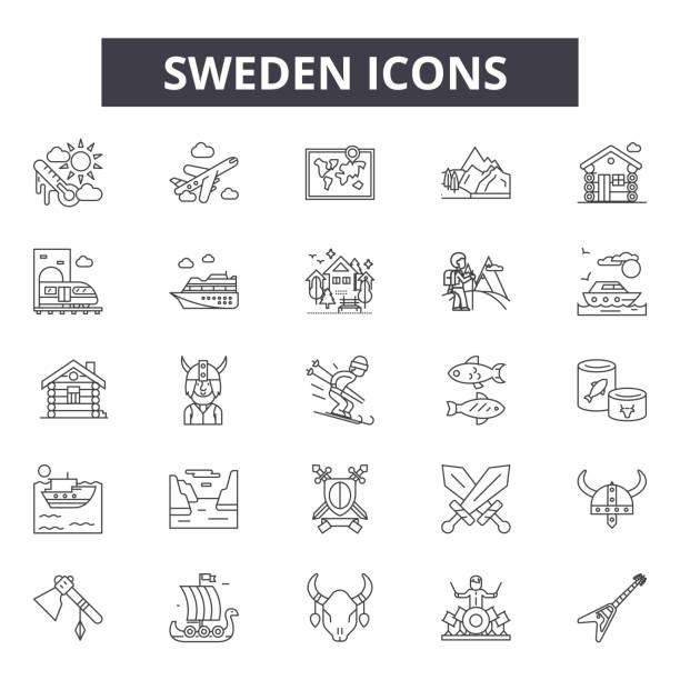 bildbanksillustrationer, clip art samt tecknat material och ikoner med sverige linje ikoner, skyltar, vektor uppsättning, linjärt koncept, kontur illustration - summer sweden