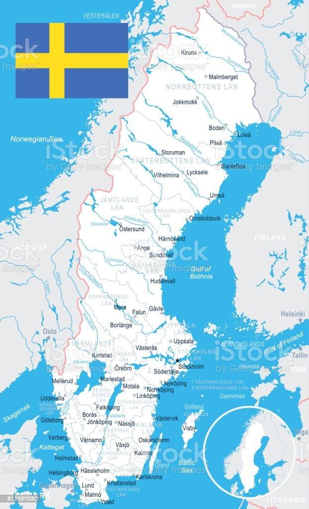 Karta Sverige Borlange.Sweden Map And Flag Illustration Stock Vector Art More Images Of