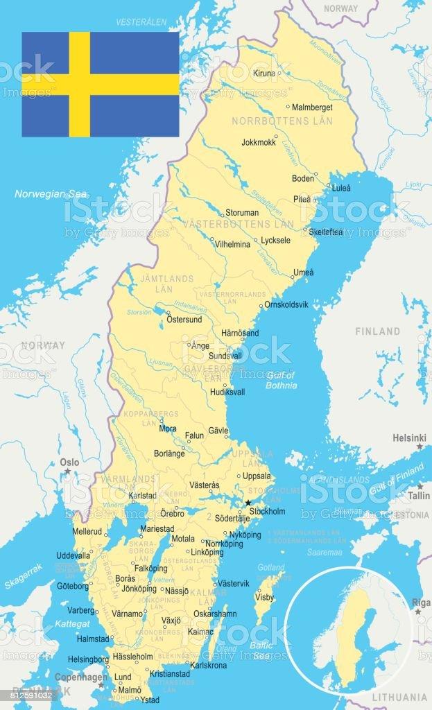 Sweden Map And Flag Illustration Stock Vector Art IStock - Sweden map ystad