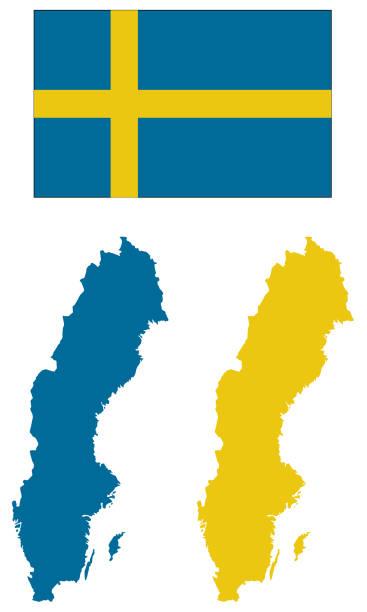 Map Of Sweden In Swedish Flag Colors Clip Art Vector Images - Sweden map clipart