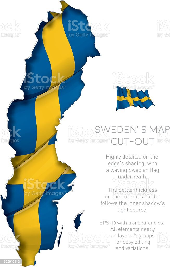 Sweden Map Cut-Out with Waving Flag – Vektorgrafik