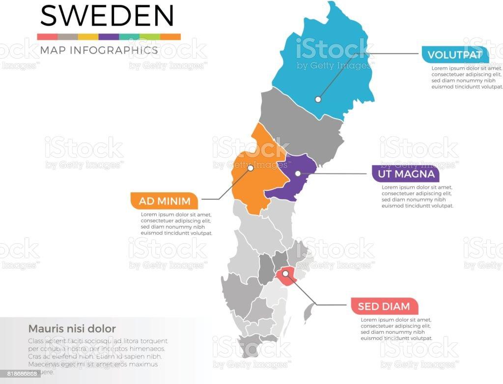 Schweden Karte Regionen.Schweden Karte Infografiken Vektor Vorlage Mit Zeiger Marken