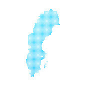 Sweden map of blue dots on white background