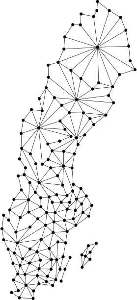 bildbanksillustrationer, clip art samt tecknat material och ikoner med sverige karta över polygonal mosaik linjer nätverk, strålar och prickar vektorillustration. - malmö