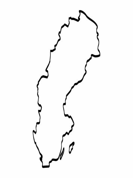 schweden karte umriss grafik freihandzeichnen auf weißem hintergrund. vektor-illustration. - ostsee stock-grafiken, -clipart, -cartoons und -symbole