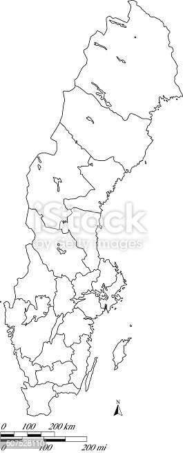 Sweden Map Outline Vector With Scales In A Blank Design Stock - Sweden map blank