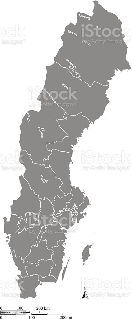 Sweden Map Outline Vector With Scales Of Miles And Kilometers - Sweden map outline