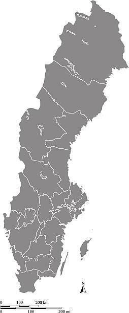 bildbanksillustrationer, clip art samt tecknat material och ikoner med sweden map outline vector with scales of miles and kilometers - norrbotten