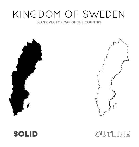 bildbanksillustrationer, clip art samt tecknat material och ikoner med sverige karta. - sweden map