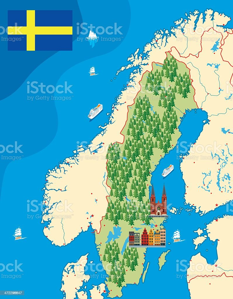 Sweden Map royalty-free stock vector art