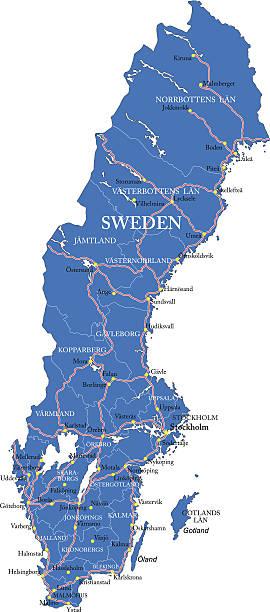 bildbanksillustrationer, clip art samt tecknat material och ikoner med sweden map - luleå