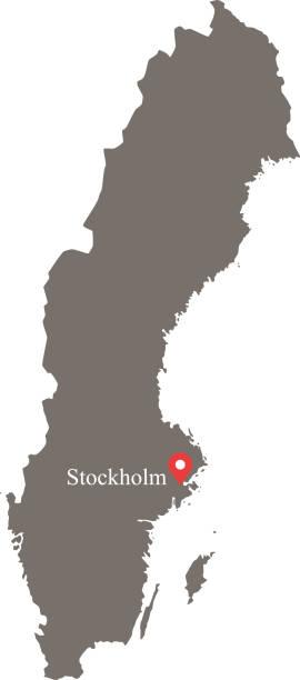 bildbanksillustrationer, clip art samt tecknat material och ikoner med sverige karta vektor konturen med huvudstaden stockholm plats och namn märkta grå bakgrund. mycket detaljerade exakt karta över sverige - luleå