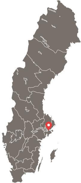 bildbanksillustrationer, clip art samt tecknat material och ikoner med sverige karta vektor konturen med provinser eller stater eller län gränser och kapital läge stockholm i grå bakgrund. mycket detaljerade exakt karta över sverige - luleå