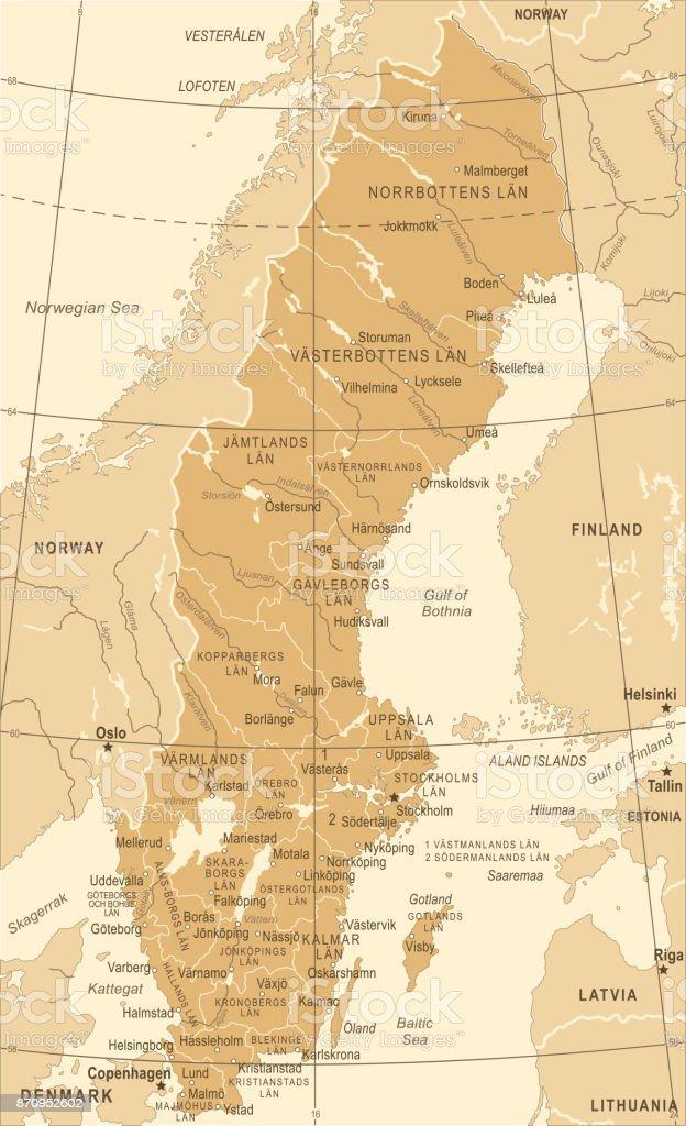 Sweden Map Vintage Vector Illustration Stock Vector Art - Sweden map mora