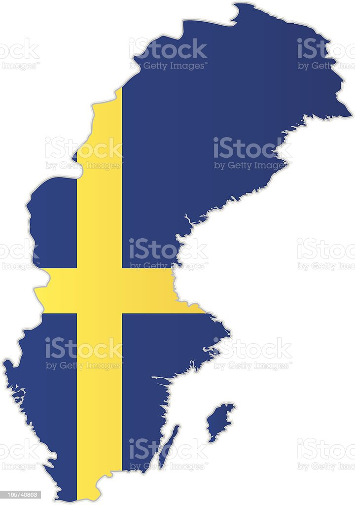 Sweden map with flag royalty-free stock vector art