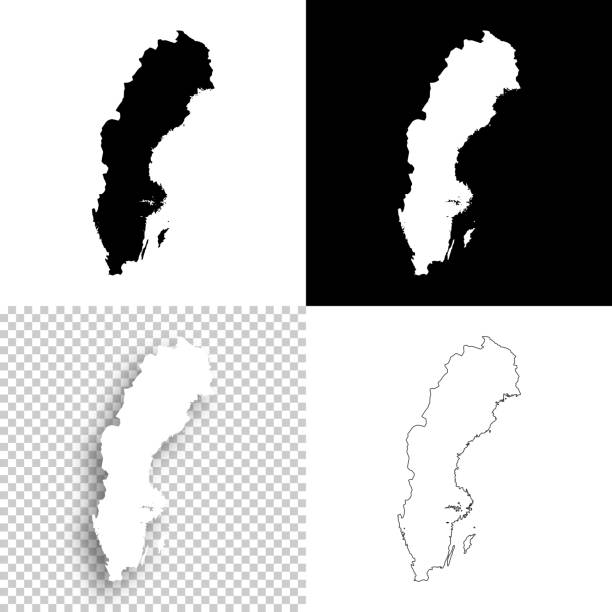 bildbanksillustrationer, clip art samt tecknat material och ikoner med sverige kartor för design - blank, vit och svart bakgrund - sweden map
