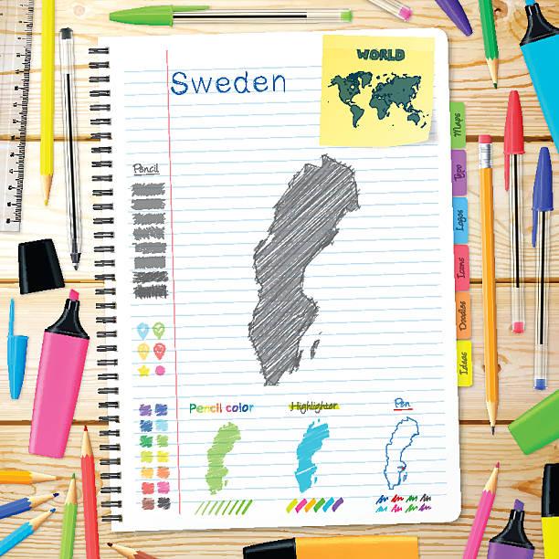 bildbanksillustrationer, clip art samt tecknat material och ikoner med sweden maps hand drawn on notebook. wooden background - stockholm overview
