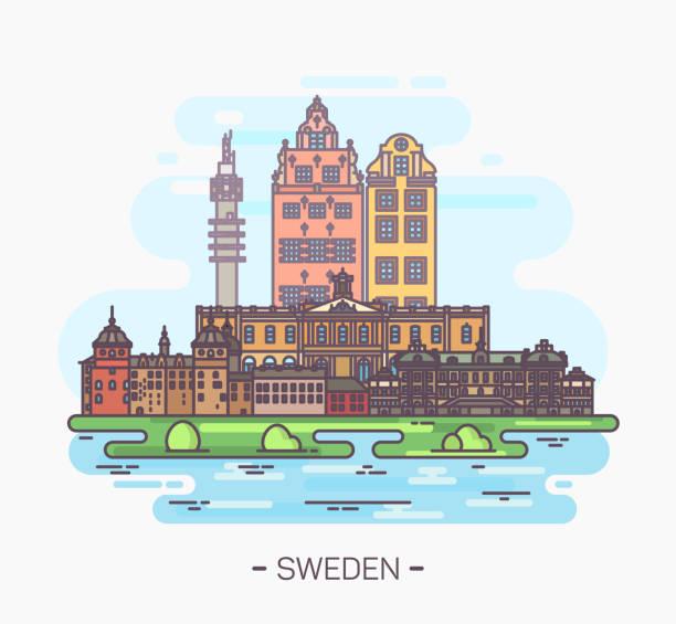 bildbanksillustrationer, clip art samt tecknat material och ikoner med sverige nationella sevärdheter i stockholm, gamla stan - stockholm