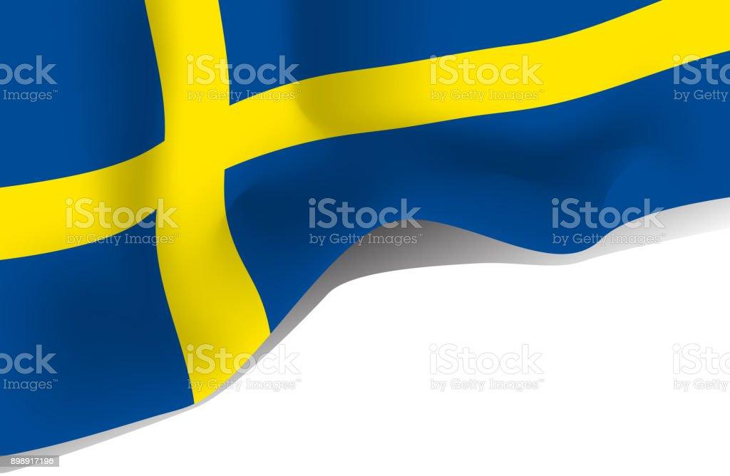 Bandera que agita Nacional Suecia aislado sobre fondo blanco - ilustración de arte vectorial