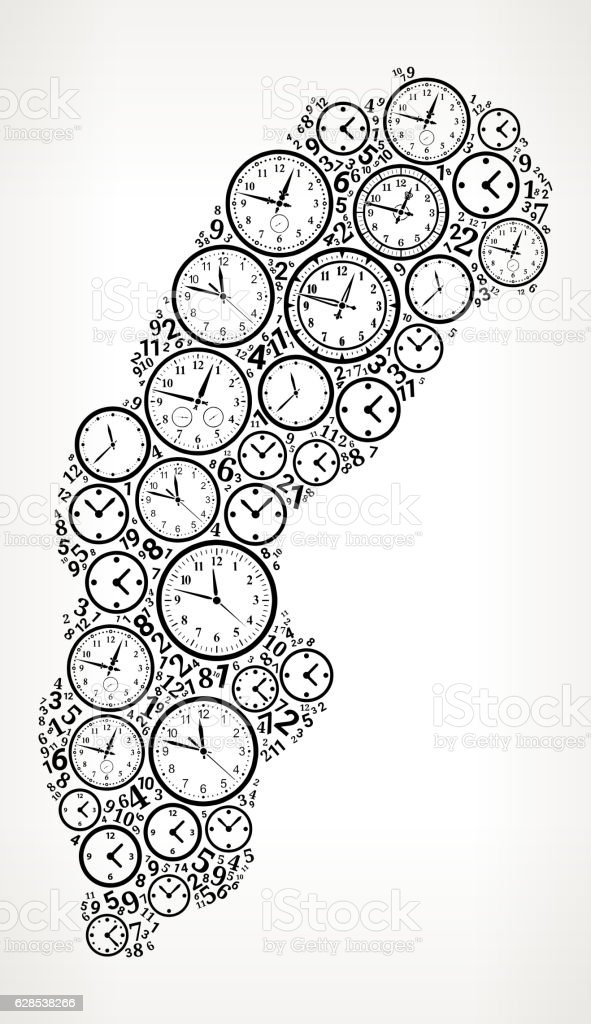 Sweden On Time And Clock Vector Icon Pattern Stock Vektor Art und ...