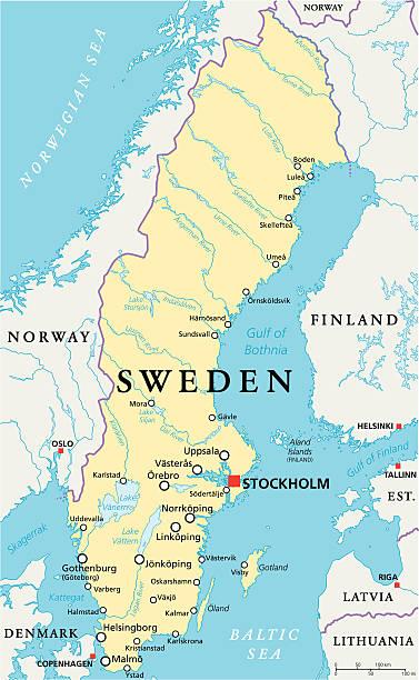 schweden politische karte - ostsee stock-grafiken, -clipart, -cartoons und -symbole