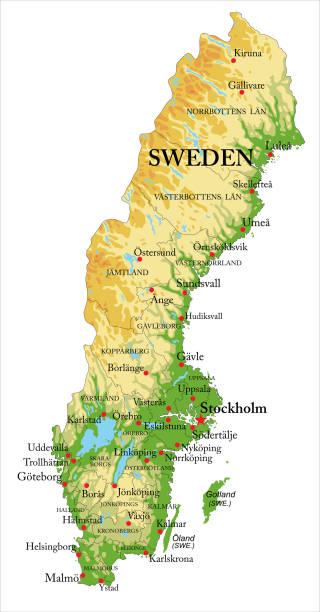 bildbanksillustrationer, clip art samt tecknat material och ikoner med sverige lättnad karta - sweden map