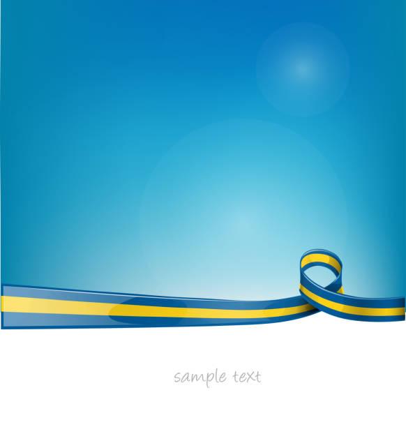 sweden ribbon flag on blue sky background vector art illustration