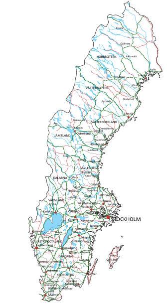 schweden straße und autobahn-karte. vector illustration. - ostsee stock-grafiken, -clipart, -cartoons und -symbole