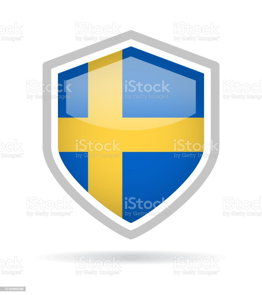 Sweden - Shield Flag Vector Glossy Icon vector art illustration