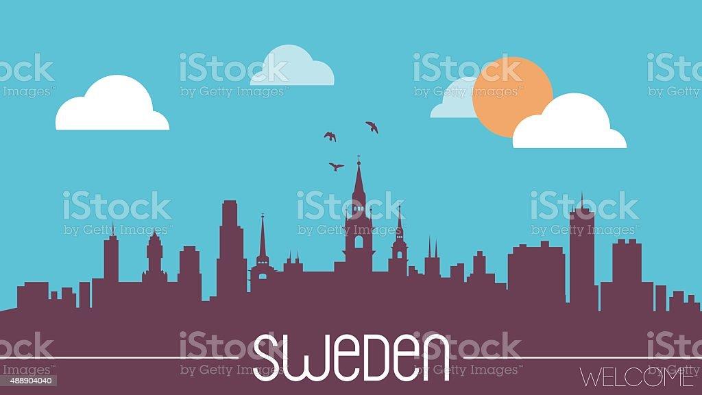 Sweden skyline silhouette vector art illustration
