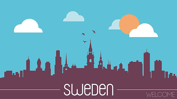 bildbanksillustrationer, clip art samt tecknat material och ikoner med sweden skyline silhouette - skyline stockholm