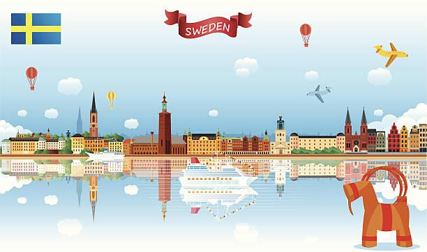 bildbanksillustrationer, clip art samt tecknat material och ikoner med sweden skyline - stockholm