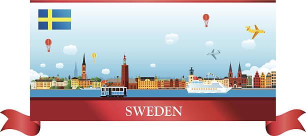 bildbanksillustrationer, clip art samt tecknat material och ikoner med sweden skyline - gothenburg