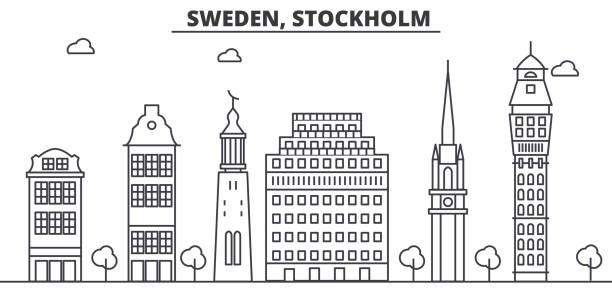bildbanksillustrationer, clip art samt tecknat material och ikoner med sverige, stockholm arkitektur linje skyline illustration. linjär vektor stadsbild med berömda landmärken, sevärdheter, designikoner. landskap med redigerbara stroke - stockholm