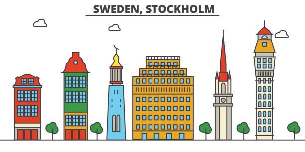 bildbanksillustrationer, clip art samt tecknat material och ikoner med sverige, stockholm. stadssilhuetten: arkitektur, byggnader, gator, siluett, landskap, panorama, sevärdheter. redigerbara stroke. platt design line vektor illustration koncept. isolerade ikoner set - skyline stockholm
